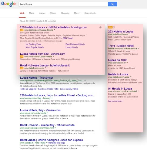 zone destinate per la campagna adwords